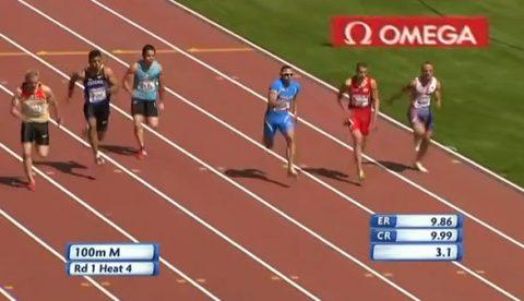 Impactante momento en el que un corredor búlgaro se fractura la rodilla en una carrera de 100 metros en Helsinki 2012