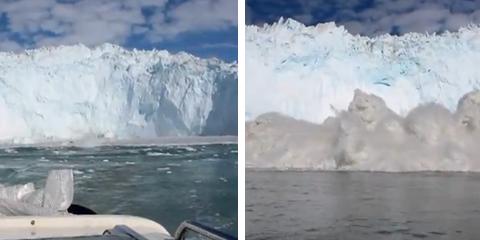 Un trozo de un gigantesco glaciar se rompe y provoca un pequeño tsunami