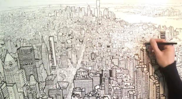 Patrick Vale dibuja Manhattan visto desde el Empire State Building