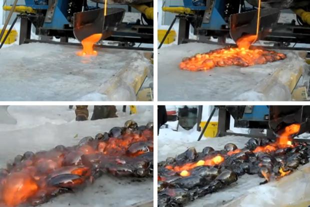 Esto es lo que ocurre cuando se vierte lava sobre hielo