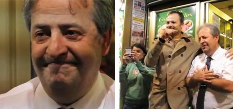 El camarero que defendió a los manifestantes el 25-S es aplaudido y se le saltan las lágrimas