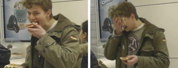 Se revienta hamburguesas en su cara mientras llora y deja con la boca abierta a todos