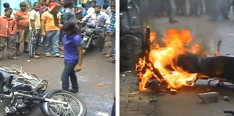 Una chica se venga de un vecino acosador quemándole la moto