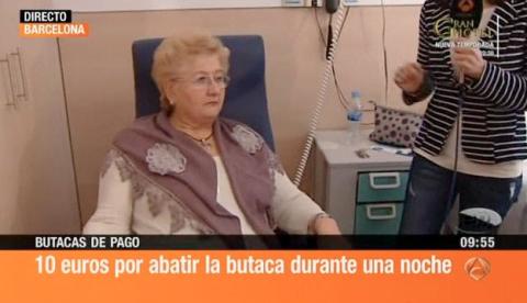 10 euros por dormir en una butaca reclinable en hospitales de Cataluña