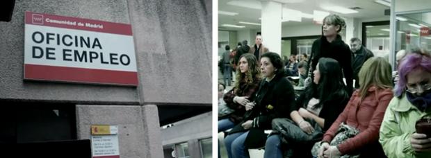 Flashmob en una oficina del paro de Madrid