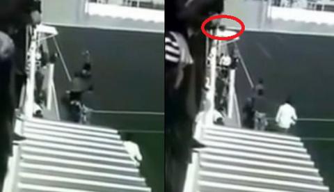 Vídeo del momento en el que un 'hombre' lanza un perro contra el árbitro durante un partido de fútbol