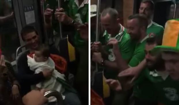 Aficionados irlandeses entran en el metro, ven que hay un bebé y hacen lo siguiente...