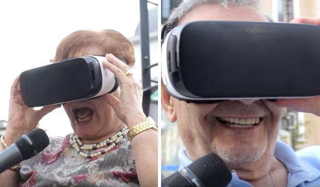 Reacciones de abuelos y abuelas al ver porno en unas gafas de realidad virtual