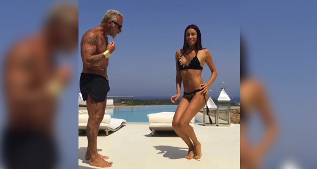 La mordidita del millonario Gianluca Vacchi y su novia Giorgia Gabriele