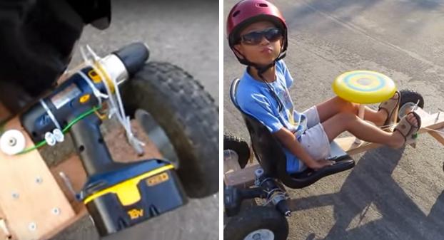 Construye un kart a partir de 4 ruedas, unas tablas y un taladro