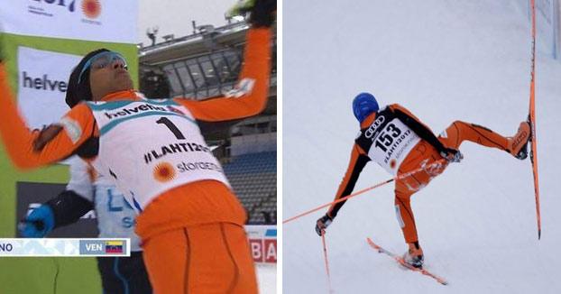La odisea del esquiador venezolano Adrián Solano. Nunca había tocado la nieve (Vídeo)