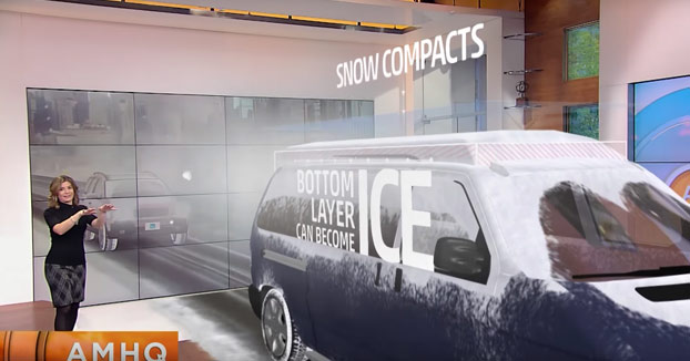 Explicación en televisión con realidad aumentada de la importancia de retirar la nieve del coche