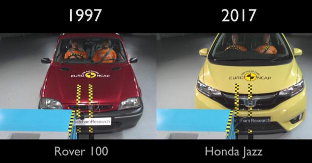 20 años de EuroNCAP resumidos en una prueba de choque: Rover 100 vs Honda Jazz