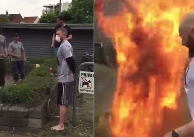 hombre lleno canela sale ardiendo