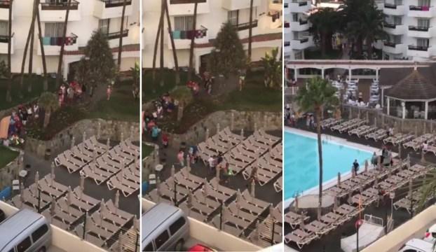 turistas corren coger tumbonas hotel gran canaria