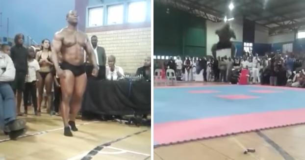 Momento en el que un fisioculturista campeón del mundo muere al desnucarse tratando de hacer una pirueta