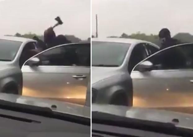 hombres encapuchados atacan con hacha conductor