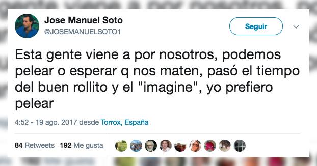 José Manuel Soto publica un tuit relacionado con los atentados y en Twitter empieza el cachondeo