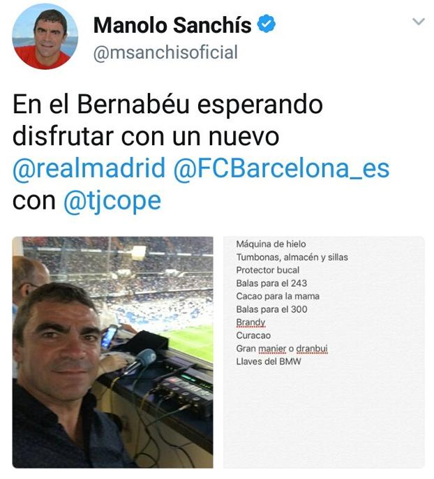Manolo Sanchís publica sin querer la lista de la compra en Twitter y empieza el cachondeo
