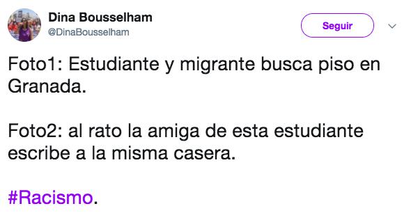 Foto 1: Estudiante e inmigrante busca piso en Granada. Foto 2: La amiga de esta estudiante escribe a la misma casera