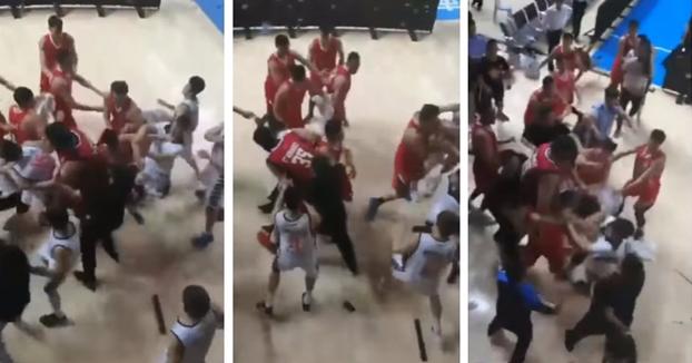 Brutal la pelea que se formó en los playoffs de la NBL china (Vídeo)