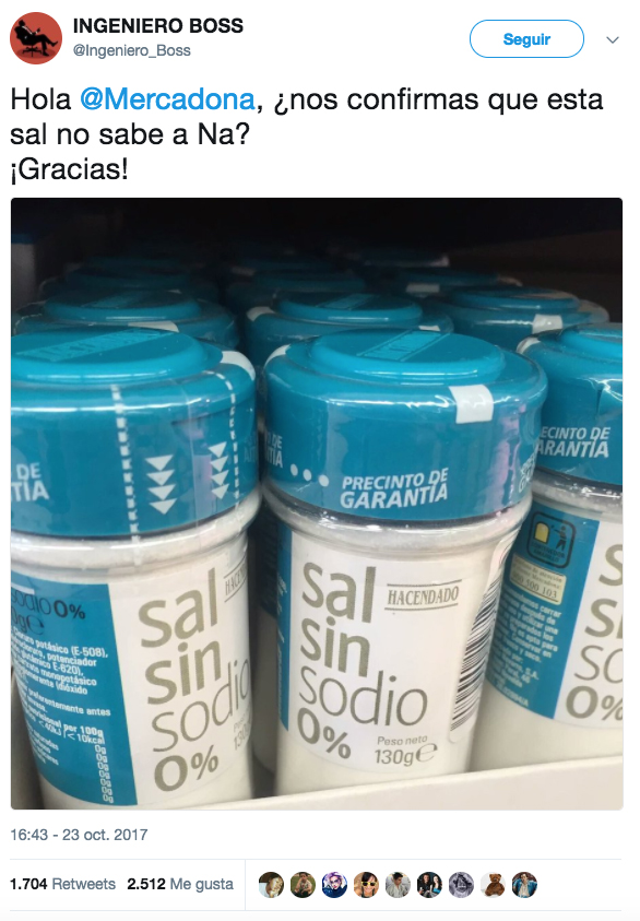 La sal sin sodio de Mercadona desata una guerra de chistes de química en un genial hilo de Twitter