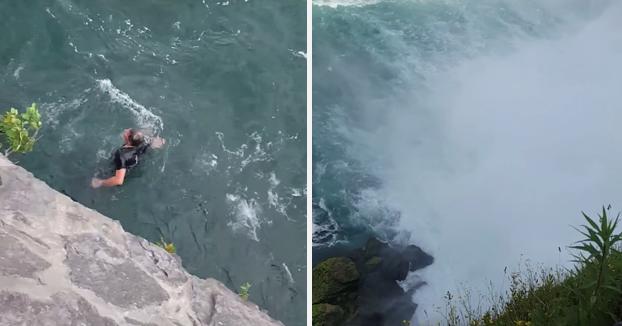 Un turista graba como un hombre se precipita al vacío en las cataratas del Niágara