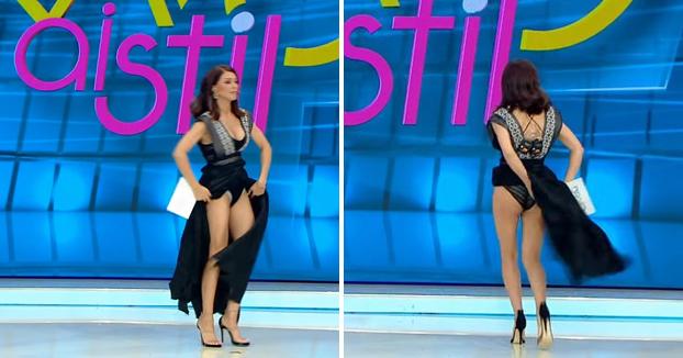 Una presentadora se levanta la falda en directo al sentir una araña por debajo