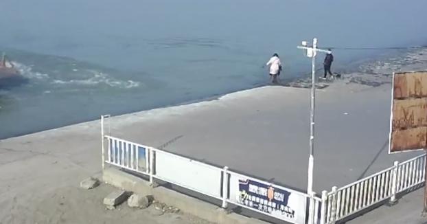 Tres personas y un perro resbalan en la orilla, caen al agua y son incapaces de salir
