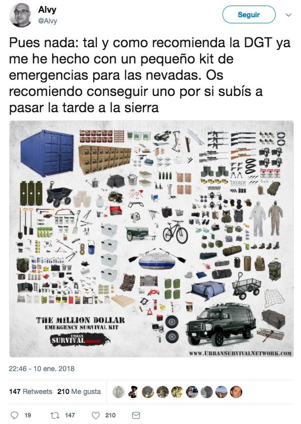 La DGT recomienda llevar en el coche un 'kit antinevadas' con 18 objetos y desata el cachondeo