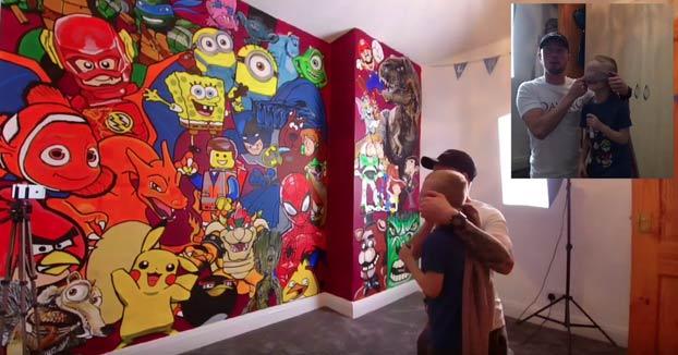 La sorpresa de un padre a su hijo: Le pinta un mural en la habitación con los personajes de sus dibujos favoritos